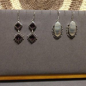 2 Pair Sterling Silver Gem & Stone Earrings